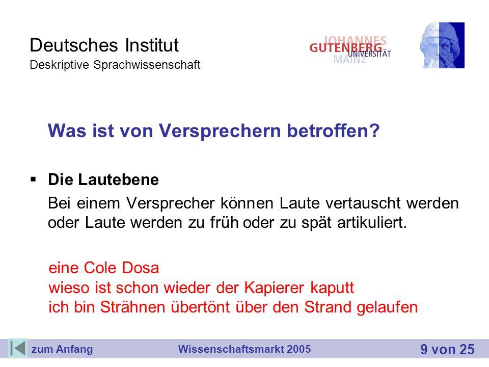Deutsches Institut Deskriptive Sprachwissenschaft Was ist von Versprechern betroffen? Die Lautebene Bei einem Versprecher können Laute vertauscht werd