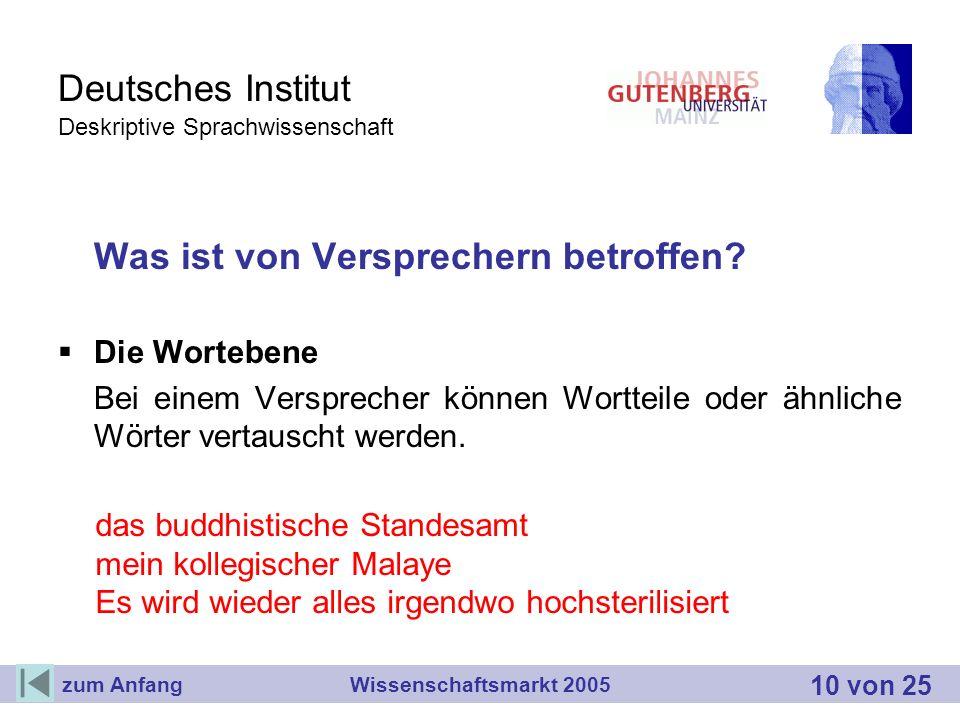 Deutsches Institut Deskriptive Sprachwissenschaft Was ist von Versprechern betroffen? Die Wortebene Bei einem Versprecher können Wortteile oder ähnlic
