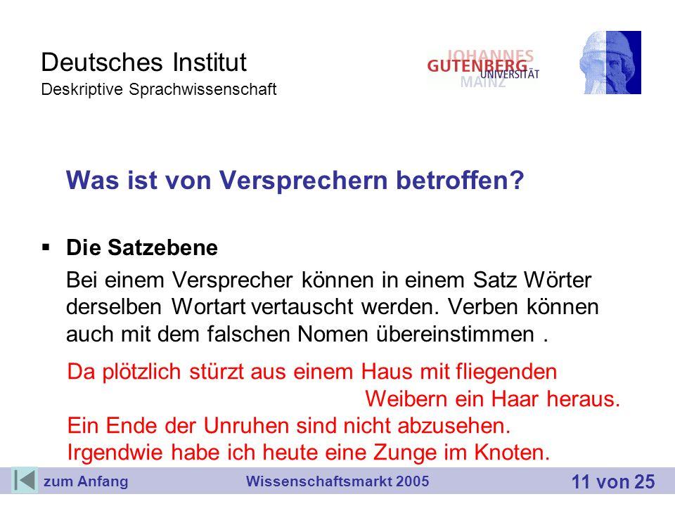 Deutsches Institut Deskriptive Sprachwissenschaft Was ist von Versprechern betroffen? Die Satzebene Bei einem Versprecher können in einem Satz Wörter
