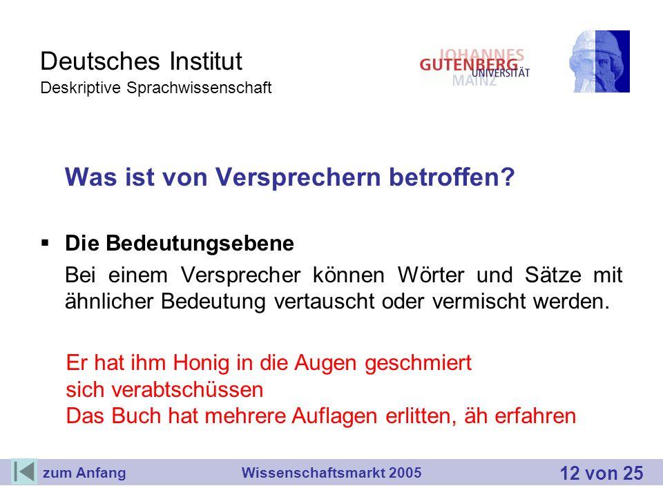 Deutsches Institut Deskriptive Sprachwissenschaft Was ist von Versprechern betroffen? Die Bedeutungsebene Bei einem Versprecher können Wörter und Sätz