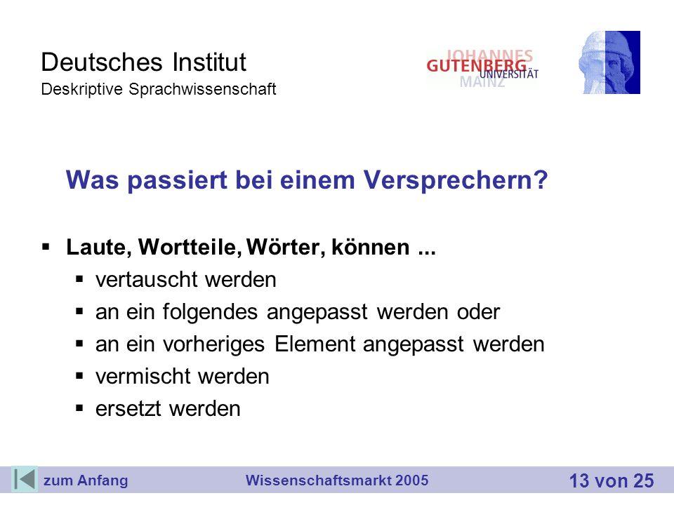Deutsches Institut Deskriptive Sprachwissenschaft Was passiert bei einem Versprechern? Laute, Wortteile, Wörter, können... vertauscht werden an ein fo