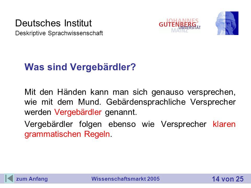 Deutsches Institut Deskriptive Sprachwissenschaft Was sind Vergebärdler? Mit den Händen kann man sich genauso versprechen, wie mit dem Mund. Gebärdens