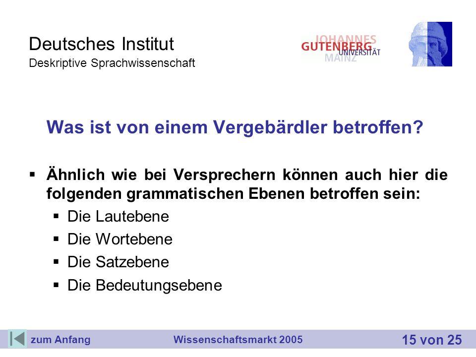 Deutsches Institut Deskriptive Sprachwissenschaft Was ist von einem Vergebärdler betroffen? Ähnlich wie bei Versprechern können auch hier die folgende