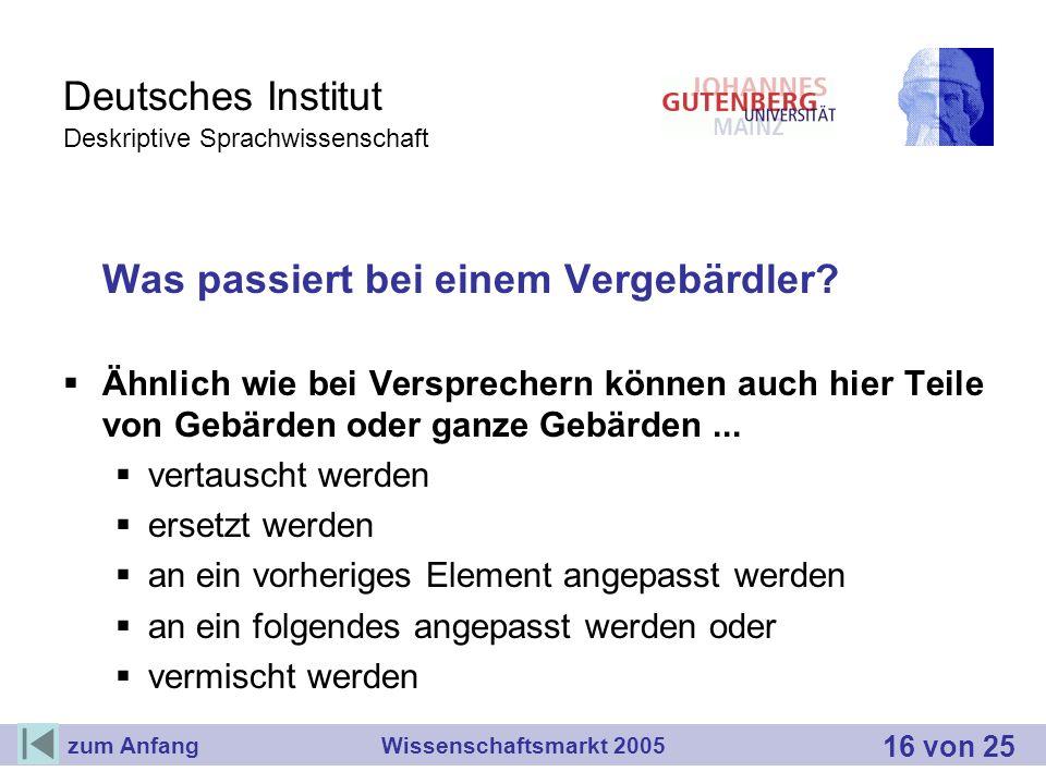 Deutsches Institut Deskriptive Sprachwissenschaft Was passiert bei einem Vergebärdler? Ähnlich wie bei Versprechern können auch hier Teile von Gebärde