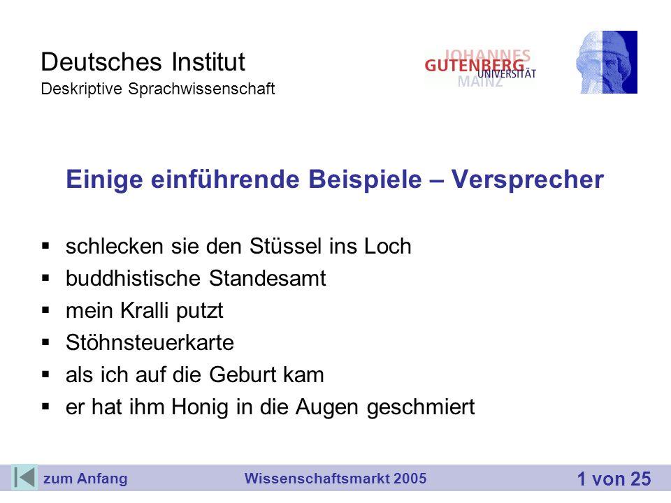 Deutsches Institut Deskriptive Sprachwissenschaft Einige einführende Beispiele – Versprecher schlecken sie den Stüssel ins Loch buddhistische Standesa