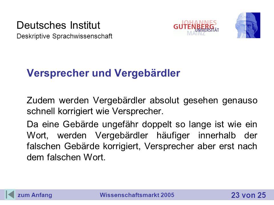 Deutsches Institut Deskriptive Sprachwissenschaft Versprecher und Vergebärdler Zudem werden Vergebärdler absolut gesehen genauso schnell korrigiert wi