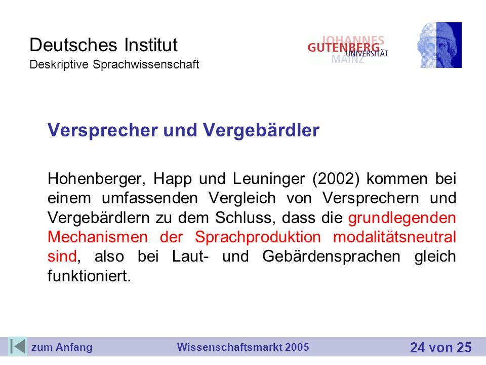 Deutsches Institut Deskriptive Sprachwissenschaft Versprecher und Vergebärdler Hohenberger, Happ und Leuninger (2002) kommen bei einem umfassenden Ver