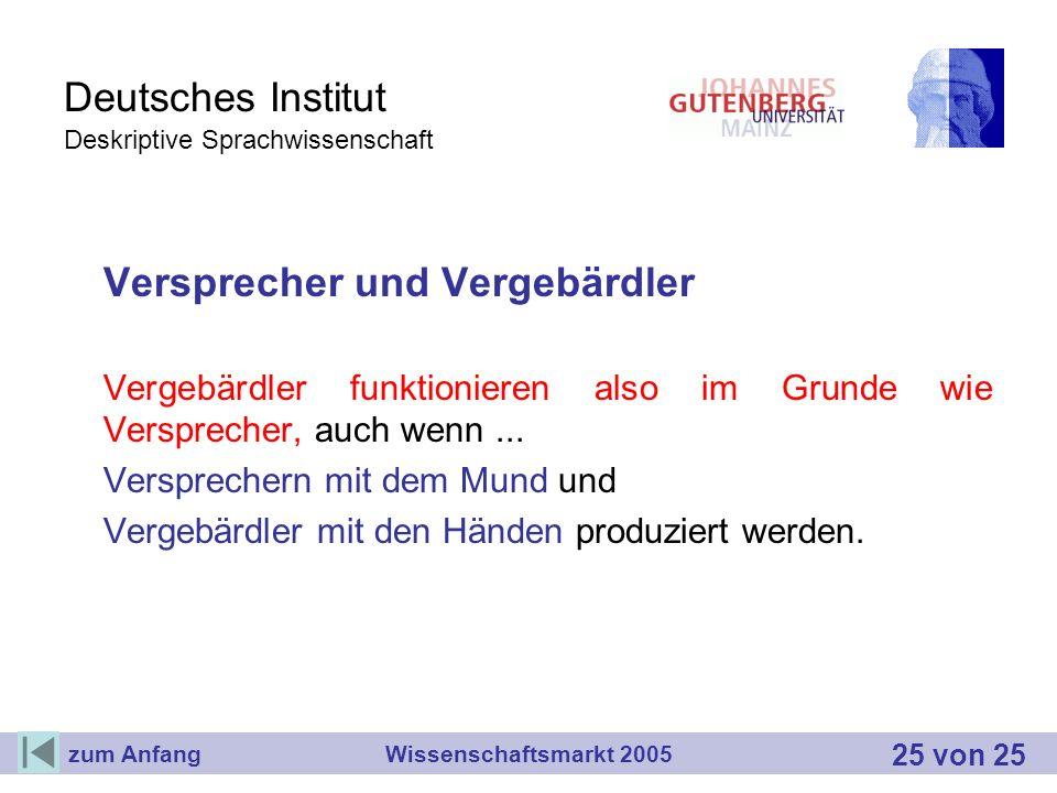 Deutsches Institut Deskriptive Sprachwissenschaft Versprecher und Vergebärdler Vergebärdler funktionieren also im Grunde wie Versprecher, auch wenn...