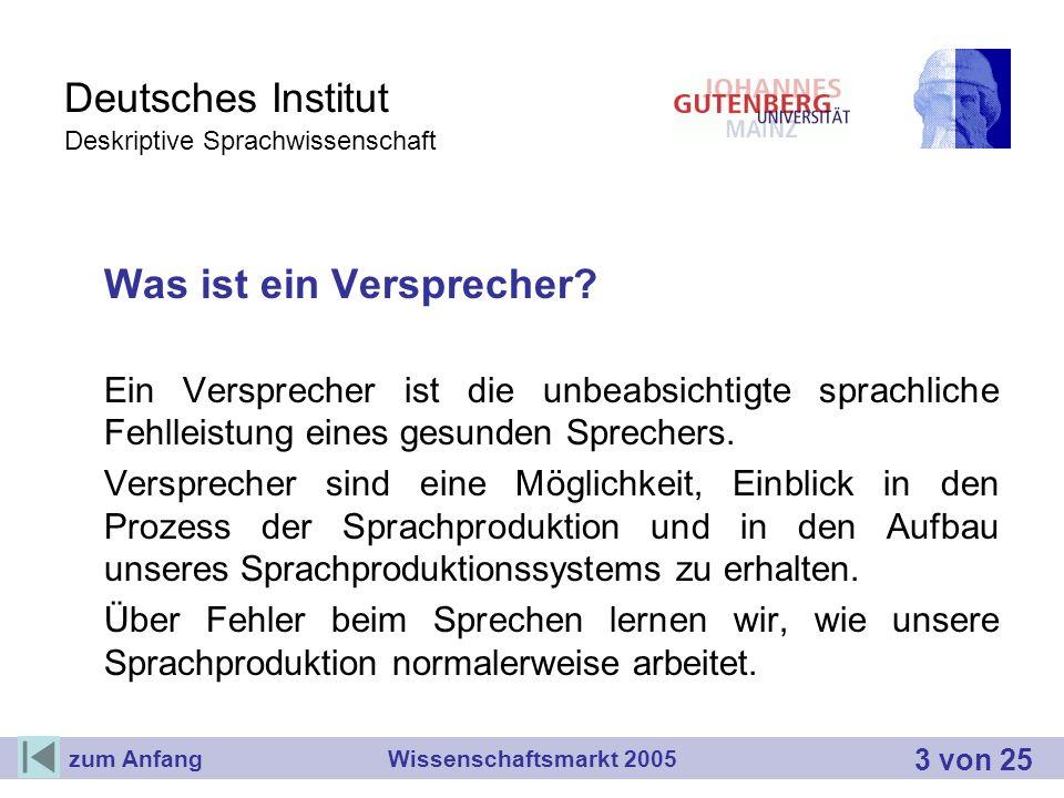 Deutsches Institut Deskriptive Sprachwissenschaft Was ist ein Versprecher? Ein Versprecher ist die unbeabsichtigte sprachliche Fehlleistung eines gesu