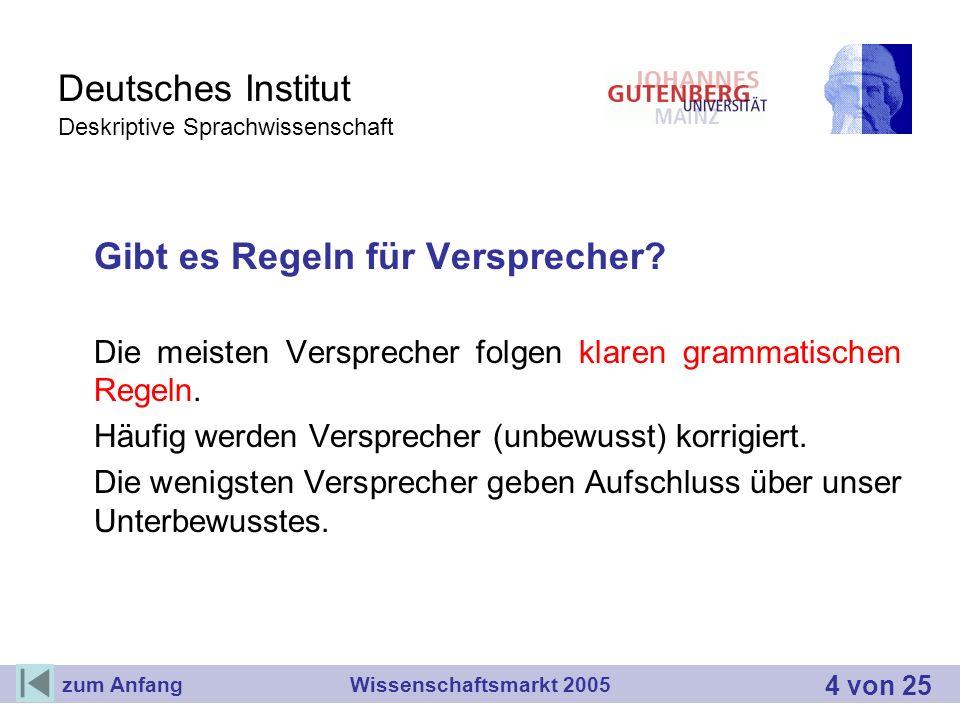 Deutsches Institut Deskriptive Sprachwissenschaft Gibt es Regeln für Versprecher? Die meisten Versprecher folgen klaren grammatischen Regeln. Häufig w