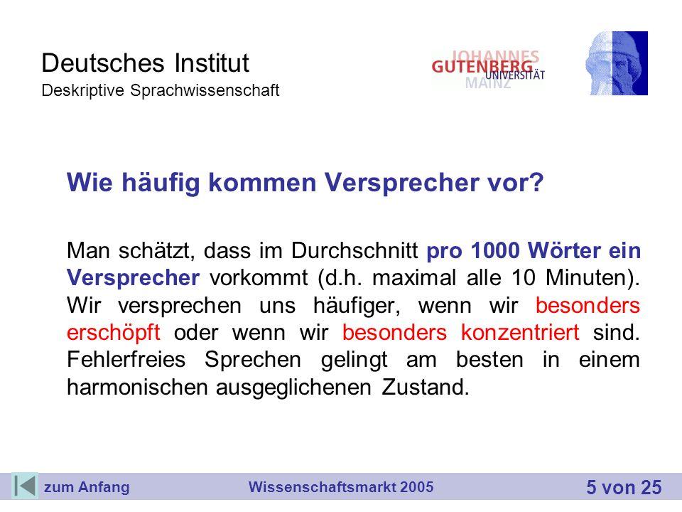 Deutsches Institut Deskriptive Sprachwissenschaft Wie häufig kommen Versprecher vor? Man schätzt, dass im Durchschnitt pro 1000 Wörter ein Versprecher