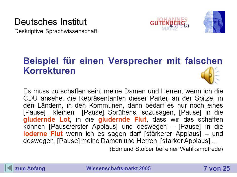 Deutsches Institut Deskriptive Sprachwissenschaft Beispiel für einen Versprecher mit falschen Korrekturen Es muss zu schaffen sein, meine Damen und He