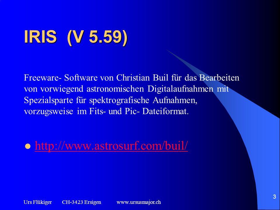 Urs Flükiger CH-3423 Ersigen www.ursusmajor.ch 4 VSPEC (V 4.0.0) http://www.astrosurf.com/vdesnoux/ Freeware- Software von Valerie Desnoux für die Aufbereitung und Auswertung von extern (z.B.