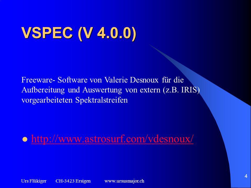 Urs Flükiger CH-3423 Ersigen www.ursusmajor.ch 5 Voraussetzungen Grundlegende PC- Kenntnisse PC oder Laptop mit vorinstallierter Software IRIS und VSPEC Basiswissen über die Digitalfotografie (Lights, Darks, Bias, Offsets, Flats, Darkflats) Selbst erstellte oder zur Verfügung gestellte Spektralaufnahmen (Lights) mit Bias und Darks im fit- oder pic- Format (max.