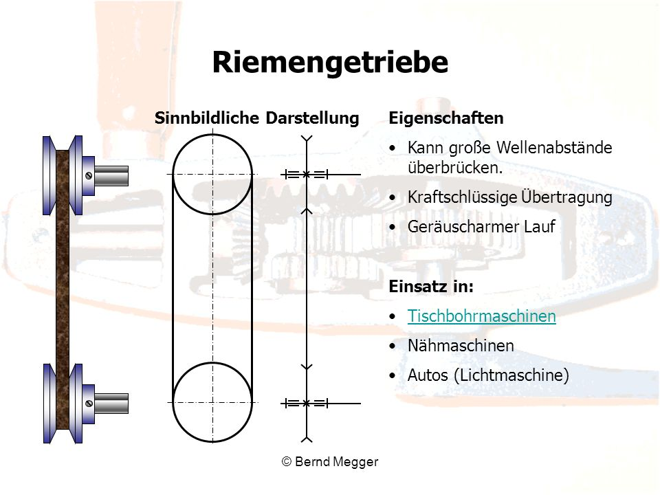 © Bernd Megger Eigenschaften Kann große Wellenabstände überbrücken. Kraftschlüssige Übertragung Geräuscharmer Lauf Einsatz in: Tischbohrmaschinen Nähm