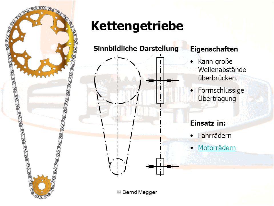 © Bernd Megger Sinnbildliche Darstellung Eigenschaften Kann große Wellenabstände überbrücken. Formschlüssige Übertragung Einsatz in: Fahrrädern Motorr