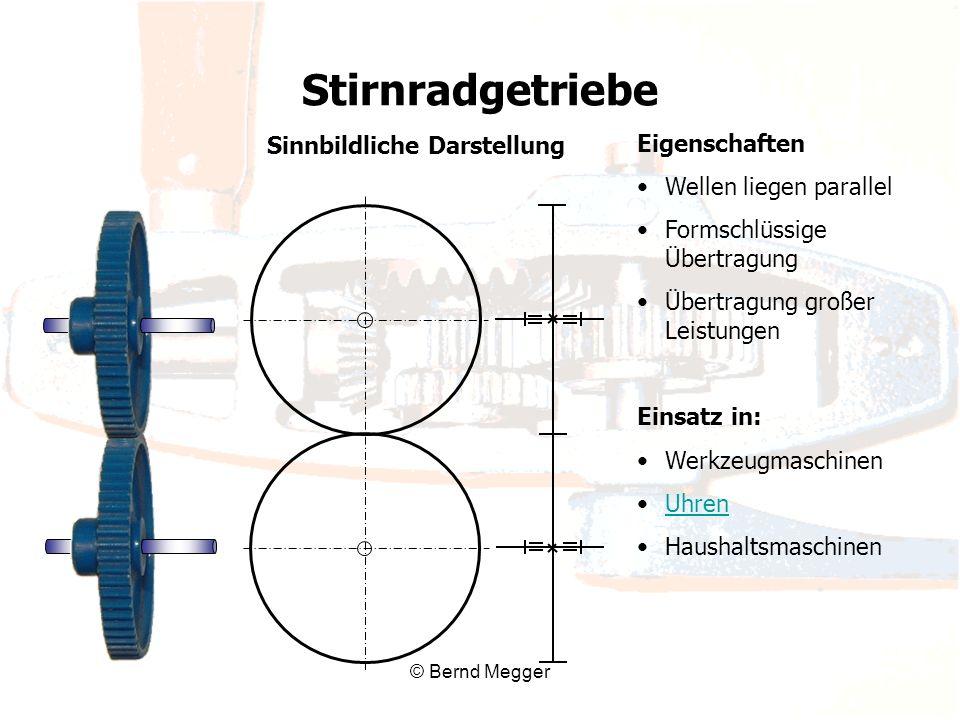 © Bernd Megger Eigenschaften Wellen liegen parallel Formschlüssige Übertragung Übertragung großer Leistungen Einsatz in: Werkzeugmaschinen Uhren Haush