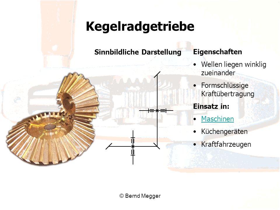 © Bernd Megger Sinnbildliche Darstellung Eigenschaften Wellen liegen winklig zueinander Formschlüssige Kraftübertragung Einsatz in: Maschinen Küchenge