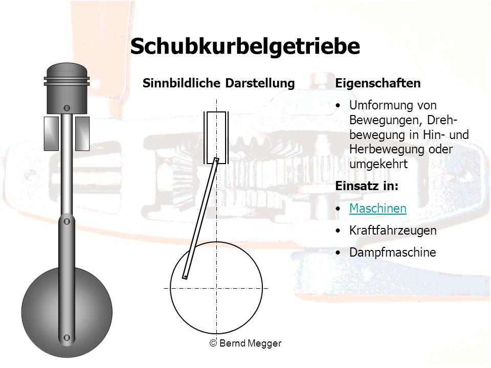 © Bernd Megger Eigenschaften Umformung von Bewegungen, Dreh- bewegung in Hin- und Herbewegung oder umgekehrt Einsatz in: Maschinen Kraftfahrzeugen Dam