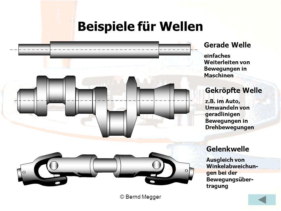 © Bernd Megger Gerade Welle einfaches Weiterleiten von Bewegungen in Maschinen Gekröpfte Welle z.B. im Auto, Umwandeln von geradlinigen Bewegungen in