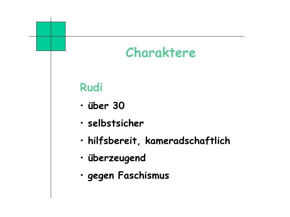 Charaktere Rudi über 30 selbstsicher hilfsbereit, kameradschaftlich überzeugend gegen Faschismus