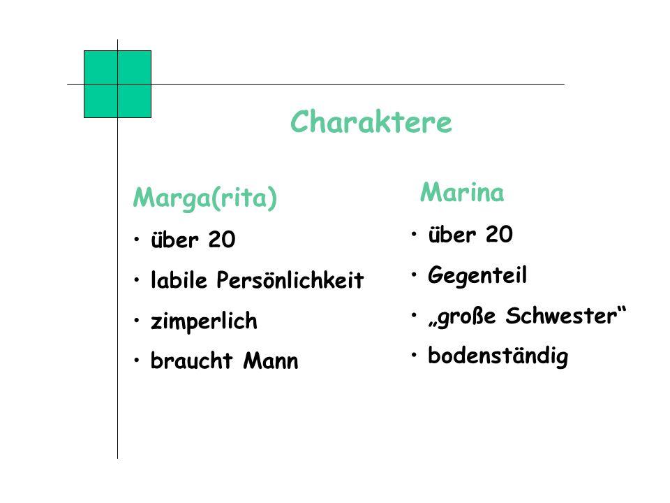 Charaktere Marga(rita) über 20 labile Persönlichkeit zimperlich braucht Mann Marina über 20 Gegenteil große Schwester bodenständig