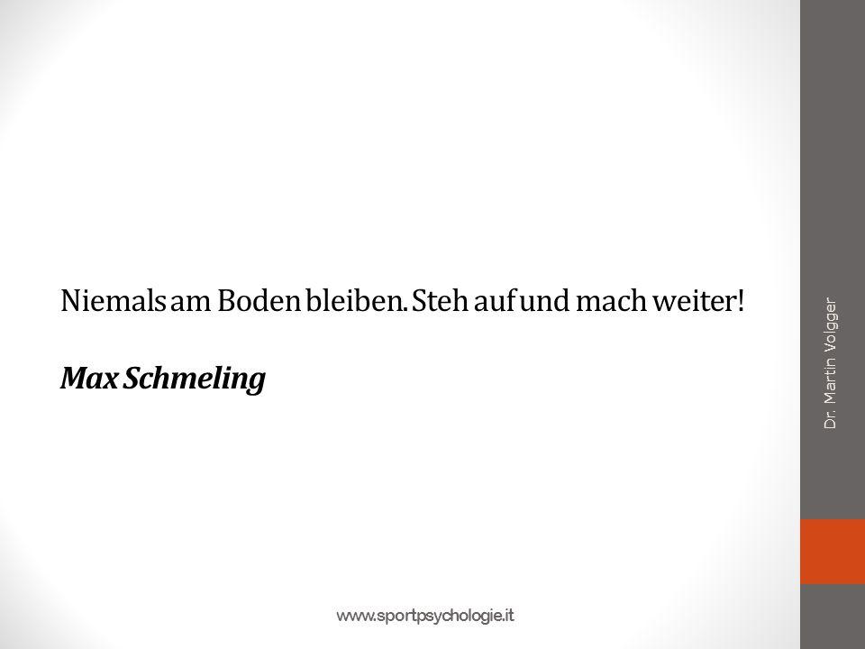 Niemals am Boden bleiben. Steh auf und mach weiter! Max Schmeling Dr. Martin Volgger www.sportpsychologie.it