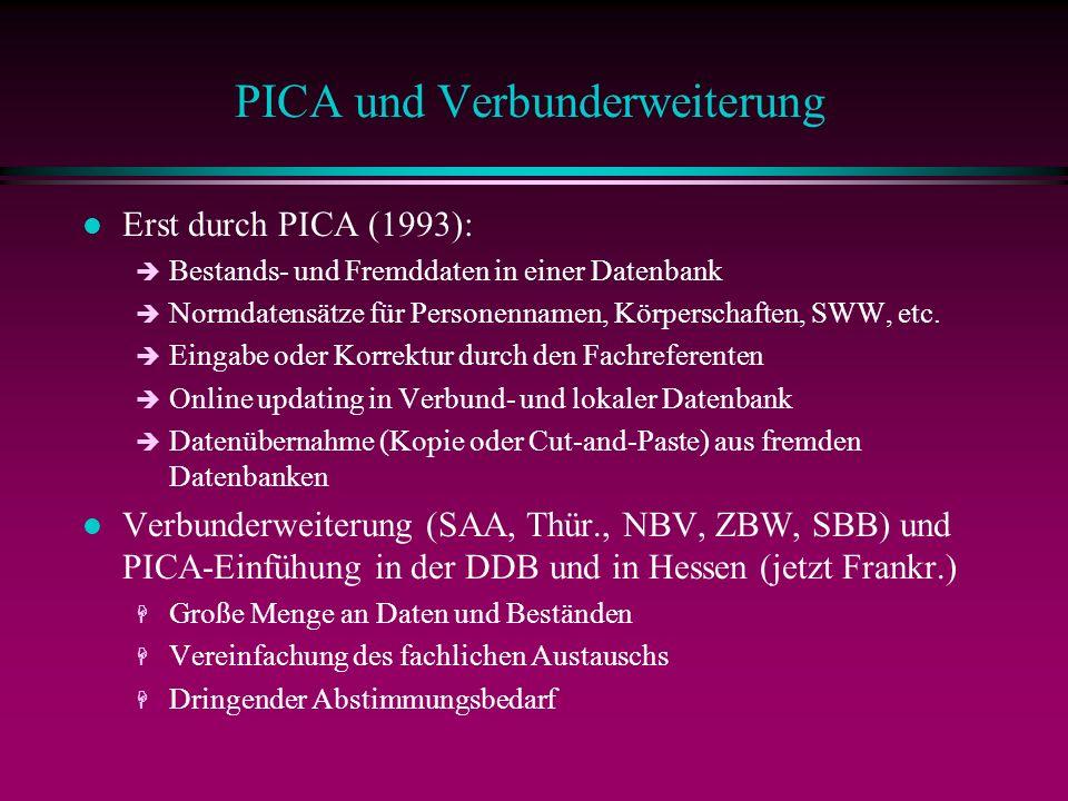 PICA und Verbunderweiterung l Erst durch PICA (1993): è Bestands- und Fremddaten in einer Datenbank è Normdatensätze für Personennamen, Körperschaften, SWW, etc.