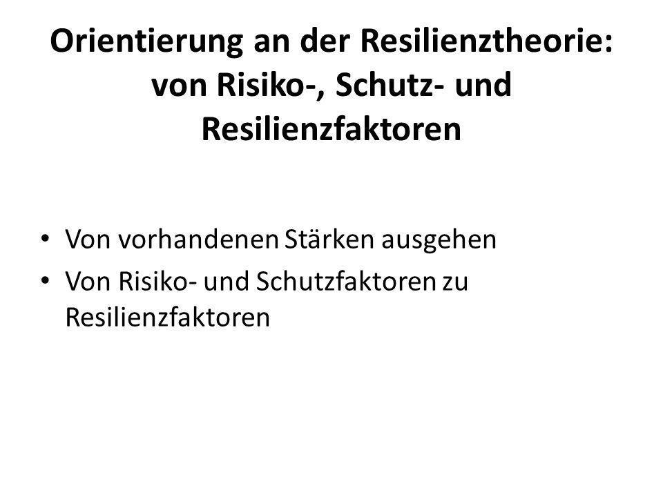 Orientierung an der Resilienztheorie: von Risiko-, Schutz- und Resilienzfaktoren Von vorhandenen Stärken ausgehen Von Risiko- und Schutzfaktoren zu Re