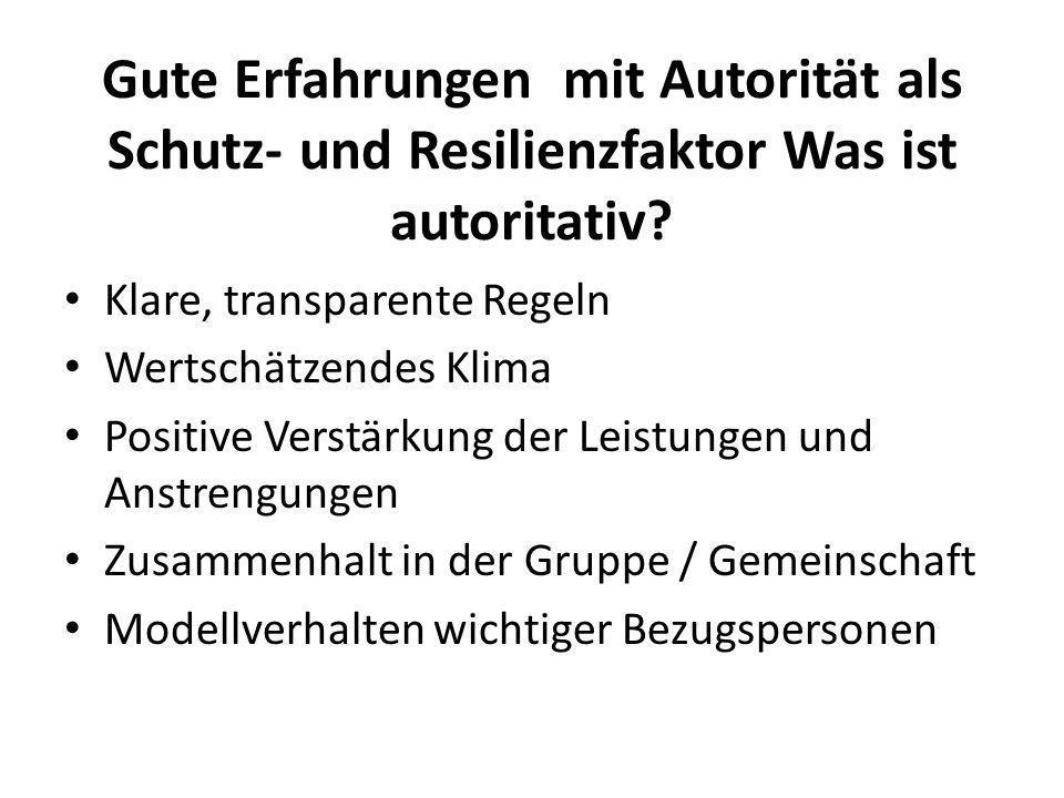 Gute Erfahrungen mit Autorität als Schutz- und Resilienzfaktor Was ist autoritativ? Klare, transparente Regeln Wertschätzendes Klima Positive Verstärk