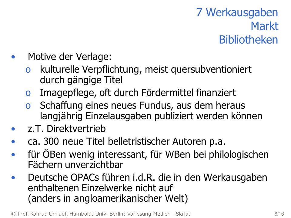 © Prof. Konrad Umlauf, Humboldt-Univ. Berlin: Vorlesung Medien - Skript 8/16 7 Werkausgaben Markt Bibliotheken Motive der Verlage: okulturelle Verpfli