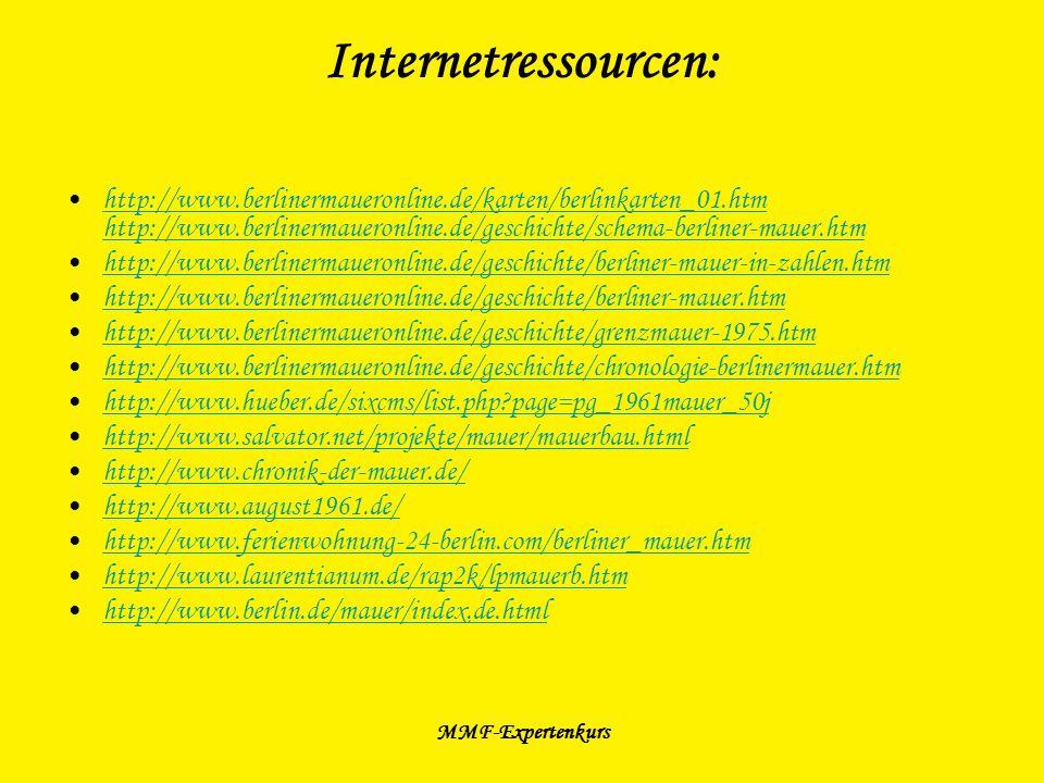 MMF-Expertenkurs Internetressourcen: http://www.berlinermaueronline.de/karten/berlinkarten_01.htm http://www.berlinermaueronline.de/geschichte/schema-
