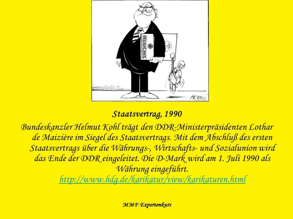 MMF-Expertenkurs Staatsvertrag, 1990 Bundeskanzler Helmut Kohl trägt den DDR-Ministerpräsidenten Lothar de Maizière im Siegel des Staatsvertrags. Mit