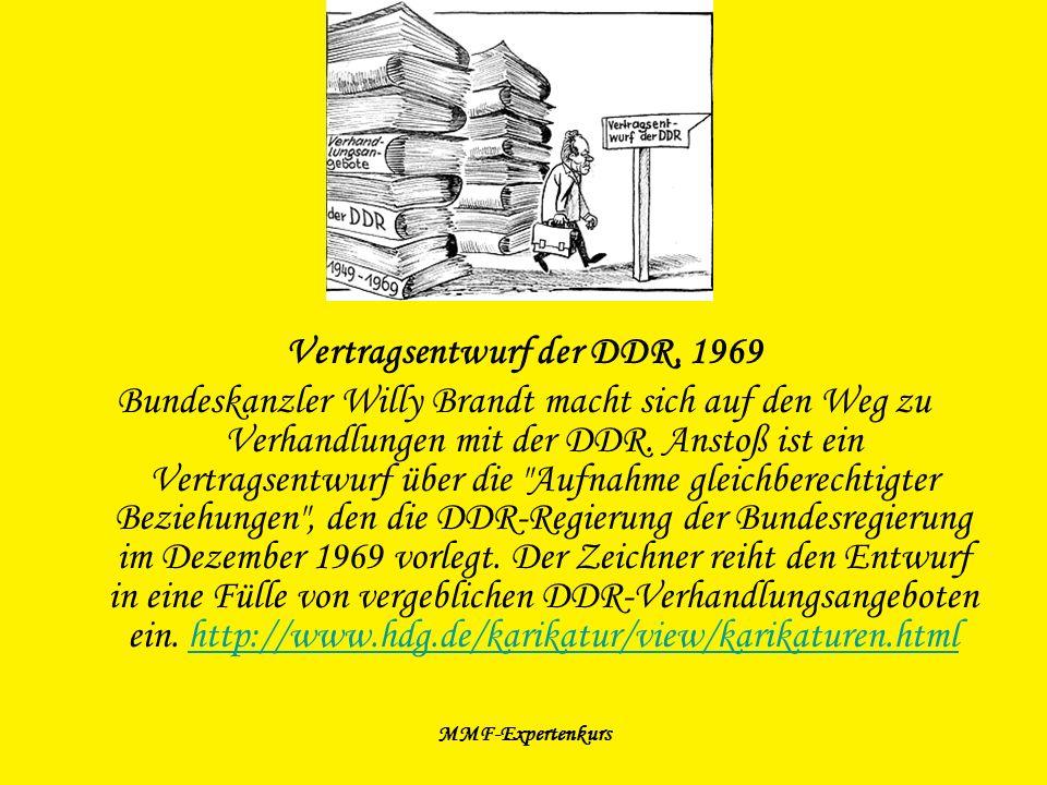 MMF-Expertenkurs Vertragsentwurf der DDR, 1969 Bundeskanzler Willy Brandt macht sich auf den Weg zu Verhandlungen mit der DDR. Anstoß ist ein Vertrags