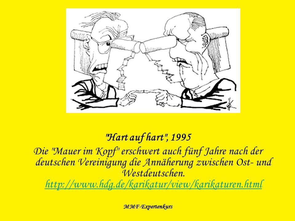 MMF-Expertenkurs Internetressourcen: http://www.deutschegeschichten.de/zeitraum/themaindex.asp?KategorieID=1006&I nhaltID=1576http://www.deutschegeschichten.de/zeitraum/themaindex.asp?KategorieID=1006&I nhaltID=1576 http://www.berliner-lindenblatt.de/content/view/40/52/ http://de.wikipedia.org/wiki/Bild:Mauerpark-Berlin-2.jpg http://de.wikipedia.org/wiki/Berliner_Mauer http://www.hansstefanbolz.de/mauerreste/HTML/startFrame.htm http://www.mauer.jp/block/eastside_d.html http://www.berliner-mauer-dokumentationszentrum.de/index.html http://www.mauer.jp/block/berlin_d.html http://www.kewego.de/video/iLyROoaftF6y.html http://www.sozialticker.com/der-boese-wessi-der-faule-ossi_20070129.html http://www.welt.de/lifestyle/article1229448/Bin_ich_hier_im_Westen_oder_Osten.