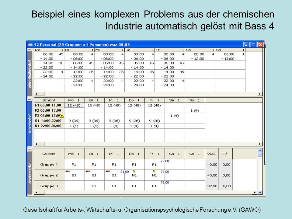 Gesellschaft für Arbeits-, Wirtschafts- u. Organisationspsychologische Forschung e.V. (GAWO) Beispiel eines komplexen Problems aus der chemischen Indu
