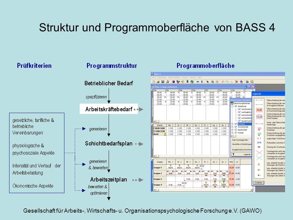 Gesellschaft für Arbeits-, Wirtschafts- u. Organisationspsychologische Forschung e.V. (GAWO) Struktur und Programmoberfläche von BASS 4