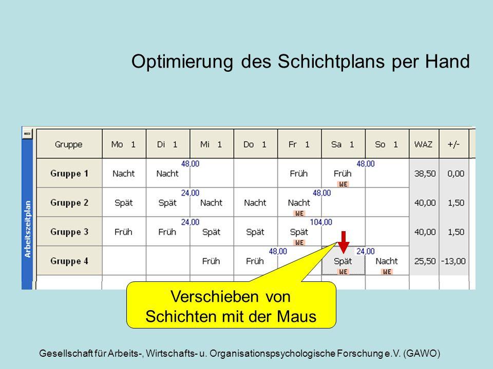 Gesellschaft für Arbeits-, Wirtschafts- u. Organisationspsychologische Forschung e.V. (GAWO) Optimierung des Schichtplans per Hand Verschieben von Sch
