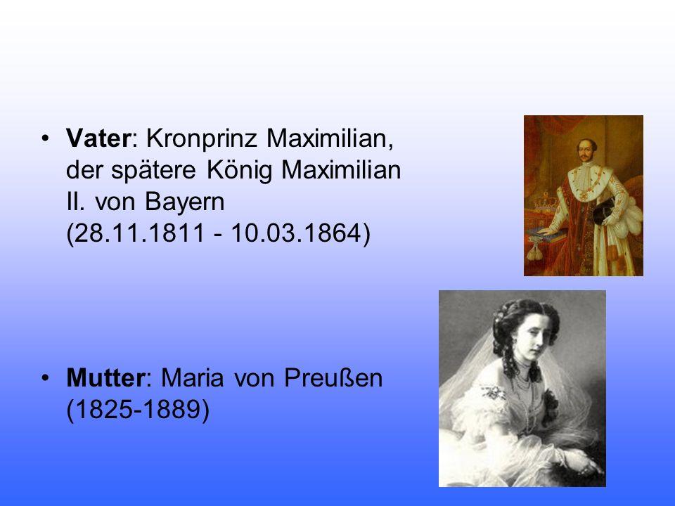 Vater: Kronprinz Maximilian, der spätere König Maximilian II. von Bayern (28.11.1811 - 10.03.1864) Mutter: Maria von Preußen (1825-1889)