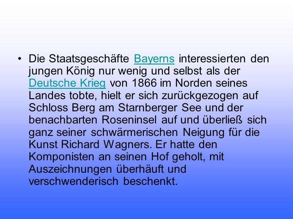 Die Staatsgeschäfte Bayerns interessierten den jungen König nur wenig und selbst als der Deutsche Krieg von 1866 im Norden seines Landes tobte, hielt