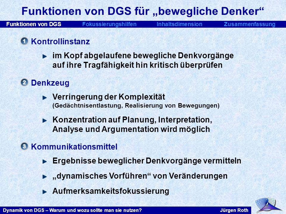 Funktionen von DGSFokussierungshilfenInhaltsdimensionZusammenfassung Jürgen RothDynamik von DGS – Warum und wozu sollte man sie nutzen? Funktionen von