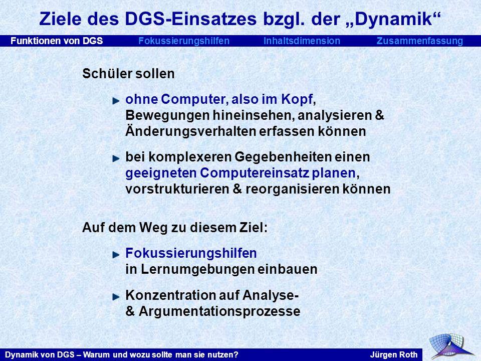 Funktionen von DGSFokussierungshilfenInhaltsdimensionZusammenfassung Jürgen RothDynamik von DGS – Warum und wozu sollte man sie nutzen? Ziele des DGS-
