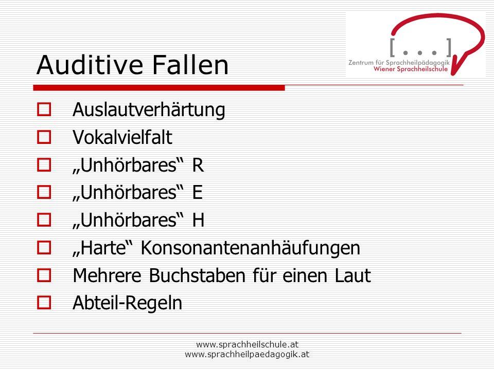 www.sprachheilschule.at www.sprachheilpaedagogik.at Auditive Fallen Auslautverhärtung Vokalvielfalt Unhörbares R Unhörbares E Unhörbares H Harte Konso