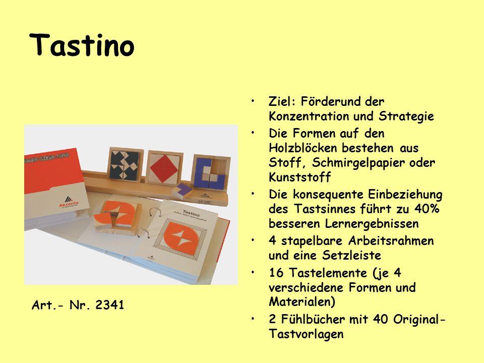 Tastino Ziel: Förderund der Konzentration und Strategie Die Formen auf den Holzblöcken bestehen aus Stoff, Schmirgelpapier oder Kunststoff Die konsequ