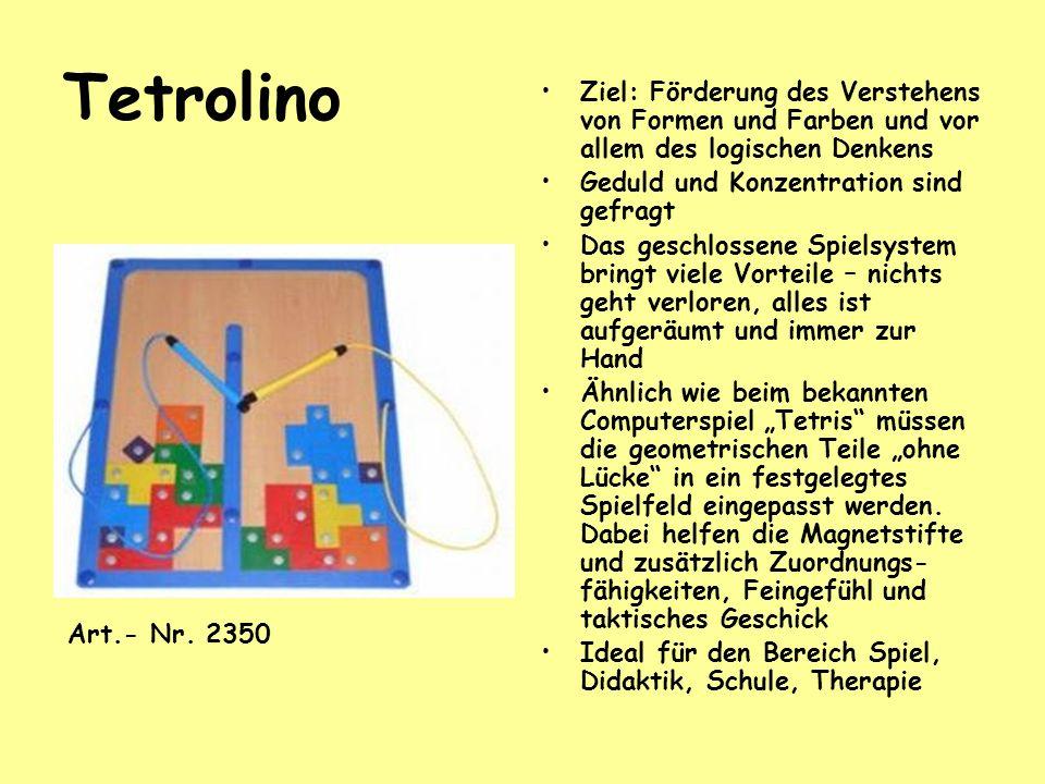Tetrolino Ziel: Förderung des Verstehens von Formen und Farben und vor allem des logischen Denkens Geduld und Konzentration sind gefragt Das geschloss
