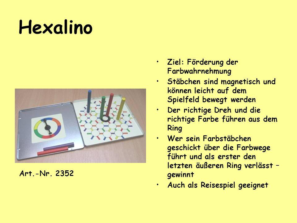 Hexalino Ziel: Förderung der Farbwahrnehmung Stäbchen sind magnetisch und können leicht auf dem Spielfeld bewegt werden Der richtige Dreh und die rich