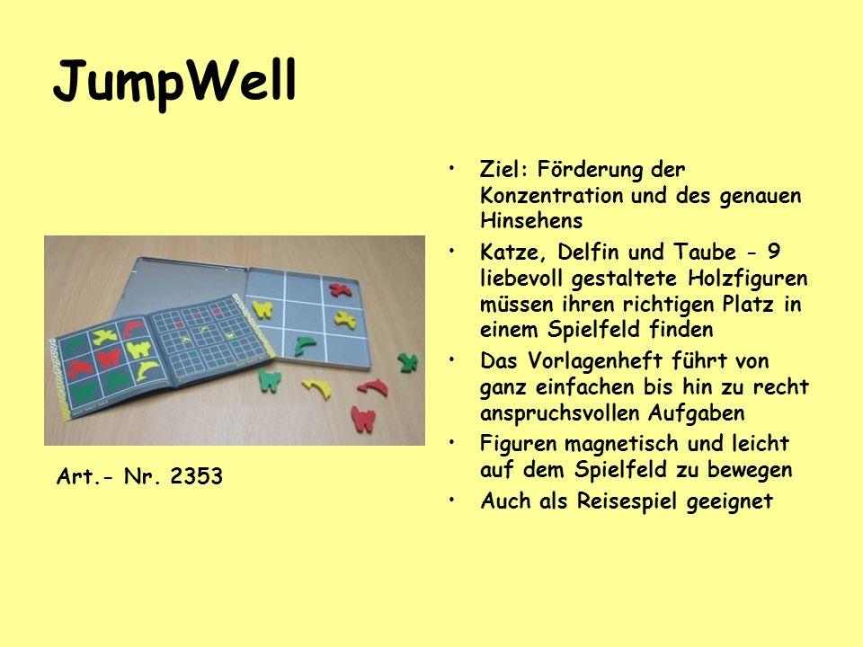 JumpWell Ziel: Förderung der Konzentration und des genauen Hinsehens Katze, Delfin und Taube - 9 liebevoll gestaltete Holzfiguren müssen ihren richtig