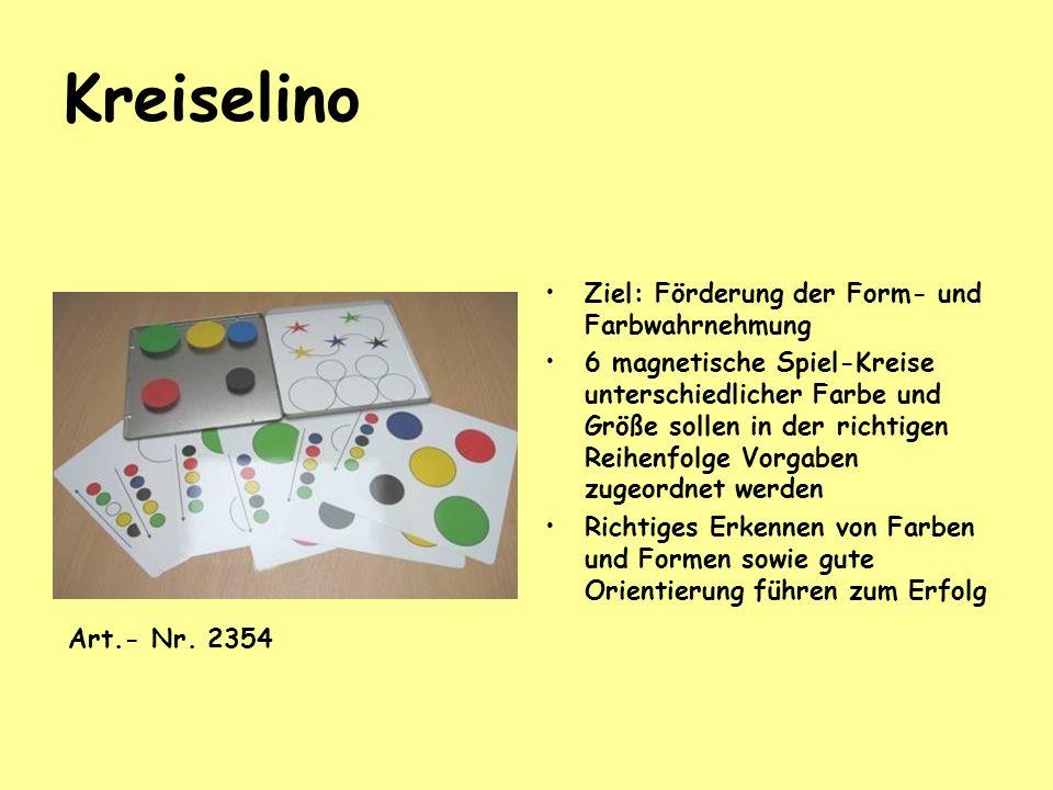 Kreiselino Ziel: Förderung der Form- und Farbwahrnehmung 6 magnetische Spiel-Kreise unterschiedlicher Farbe und Größe sollen in der richtigen Reihenfo