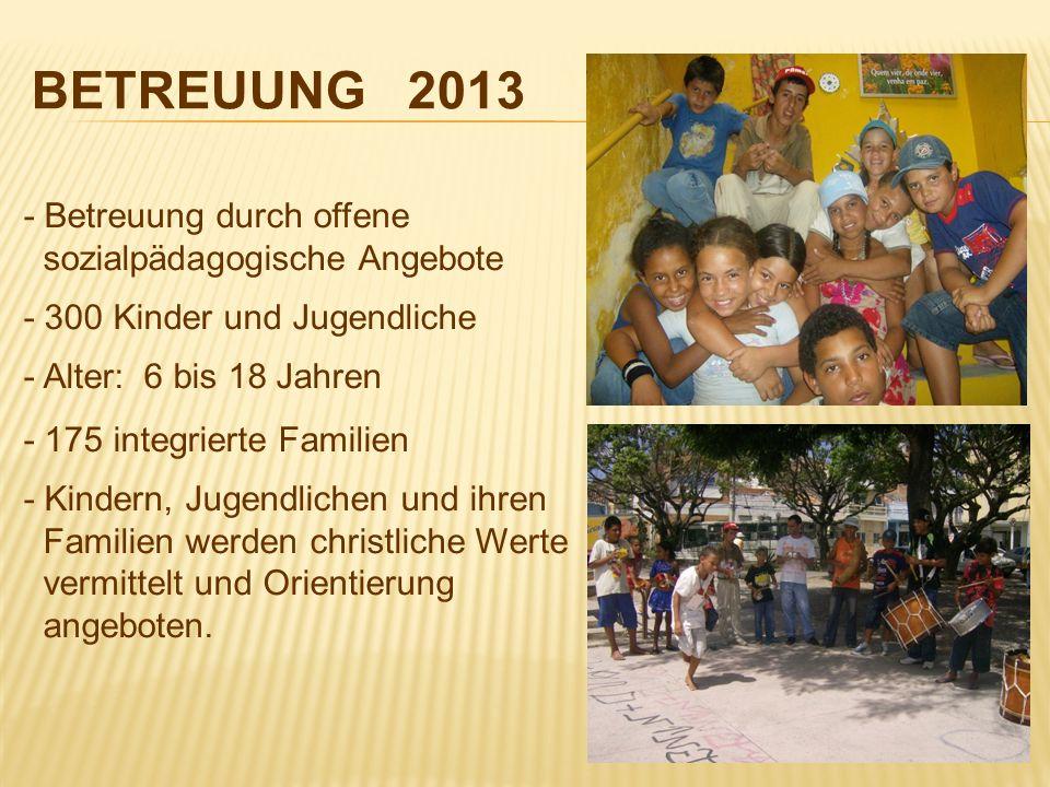 BETREUUNG 2013 - Betreuung durch offene sozialpädagogische Angebote - 300 Kinder und Jugendliche - Alter: 6 bis 18 Jahren - 175 integrierte Familien -