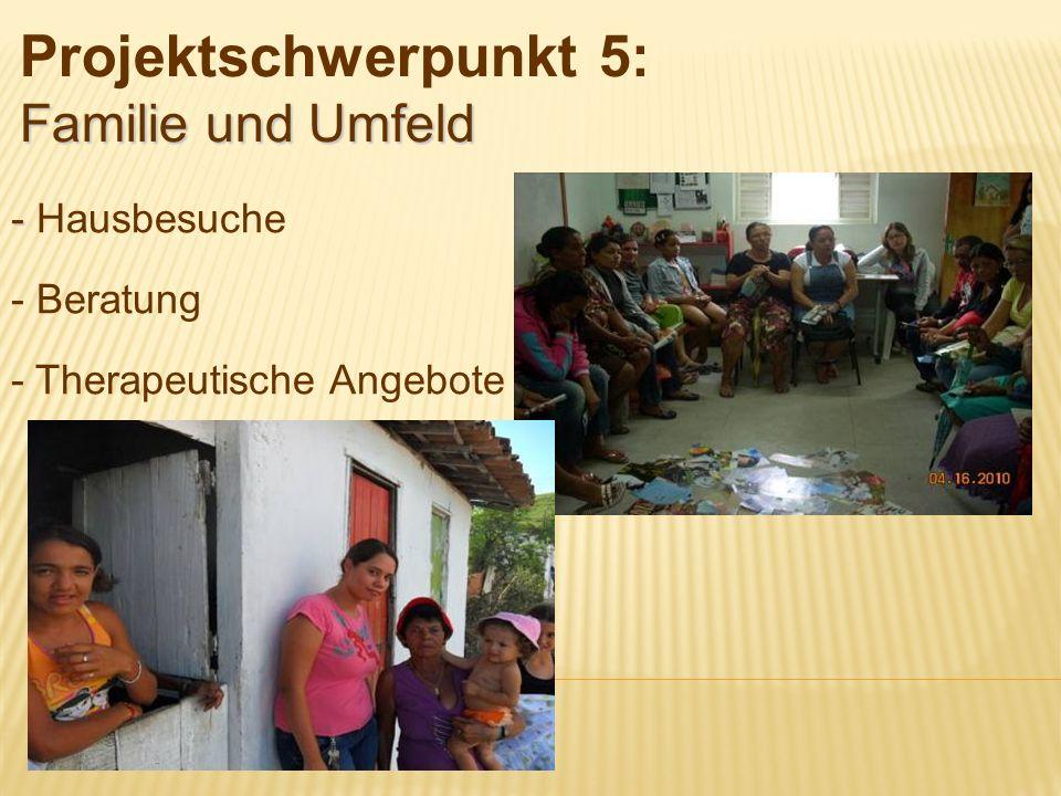 - - Hausbesuche - Beratung - Therapeutische Angebote Familie und Umfeld Projektschwerpunkt 5: Familie und Umfeld
